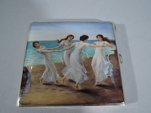 Antique German Silver and Enamel Case with Classical Dancing Graces