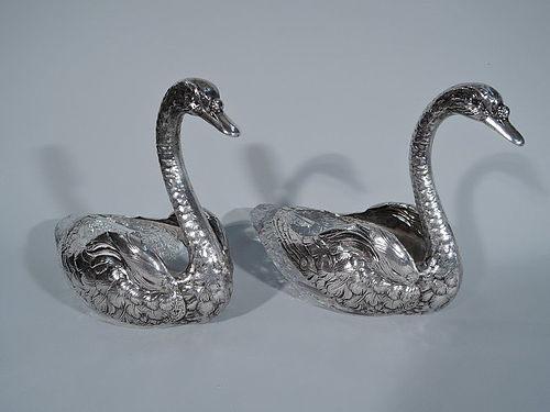 Pair of Large Antique American Sterling Silver and Cut Glass Swans