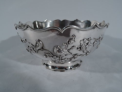 Chinese Export Silver Bowl with Blossoming Branch & Birds by Sing Fat