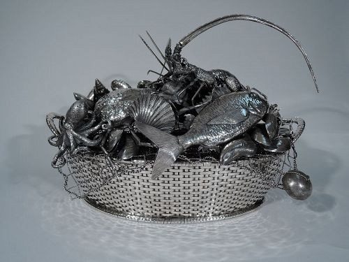 One of a Kind Centerpiece - Mario Buccellati Silver Seafood Basket