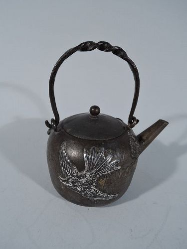 Rare Gorham Iron and Sterling Silver Teapot � Japonesque Mixed Metal