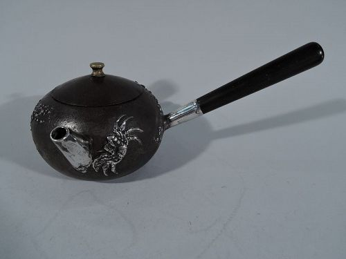 Gorham Mixed Metal Iron Sake Pot with Sterling Silver Crabs