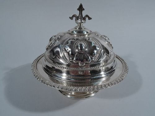 Early Tiffany Sterling Silver Covered Butter Dish