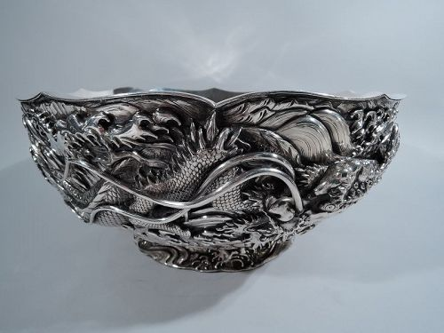 Rare Japanese Meiji Silver Centerpiece Bowl with Dramatic Dragons
