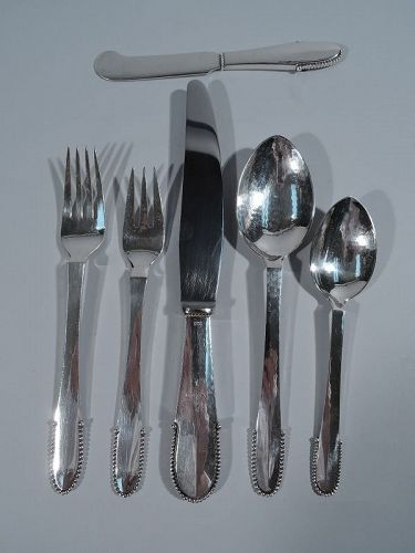 Georg Jensen Beaded Dinner Service for 12 with 72 Pieces