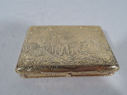 Antique European 18K Gold Snuffbox with Pastoral Scene