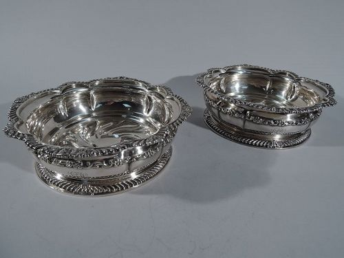 Great Wedding Gift � Pair of Antique Tiffany Silverplate Wine Coasters