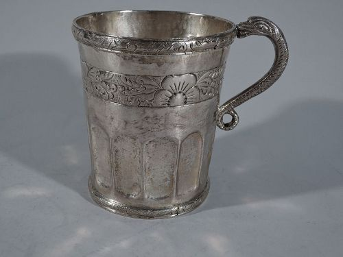 Antique South American Silver Mug with Snake Handle