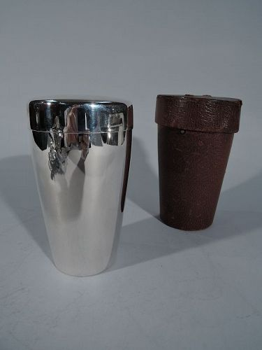Tiffany Sterling Silver Cocktail Shaker with Traveling Leather Case