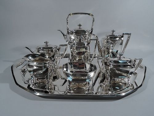Tiffany Art Deco Sterling Silver Tea & Coffee Service on Tray