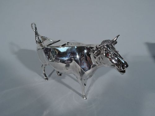 Antique English Sterling Silver Cow Creamer 1923