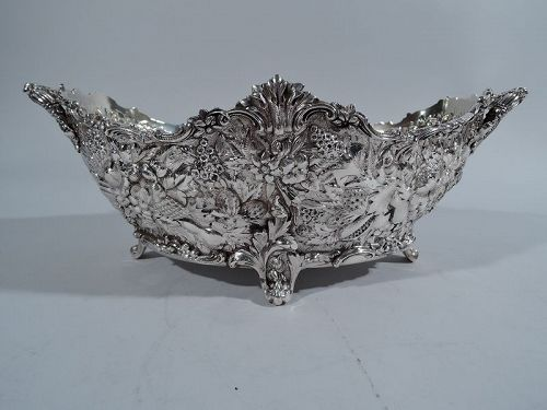 Antique Tiffany Sterling Silver Bowl with Floral Repousse