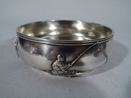 Gorham Japonesque Mixed Metal Sterling Silver Bowl with Fisherman