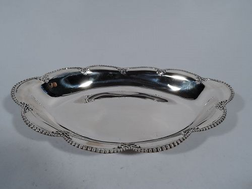 Antique Tiffany Sterling Silver Bowl with Bold Beading