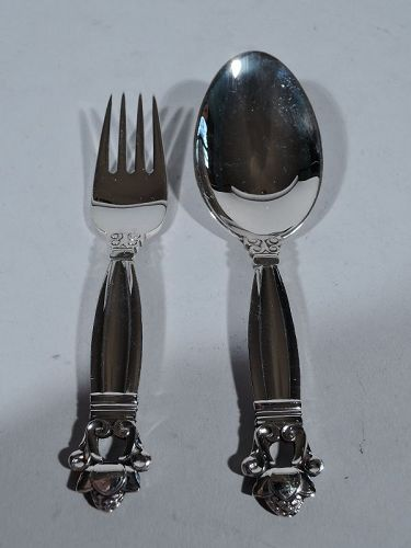 Georg Jensen Acorn Sterling Silver Baby Spoon and Fork