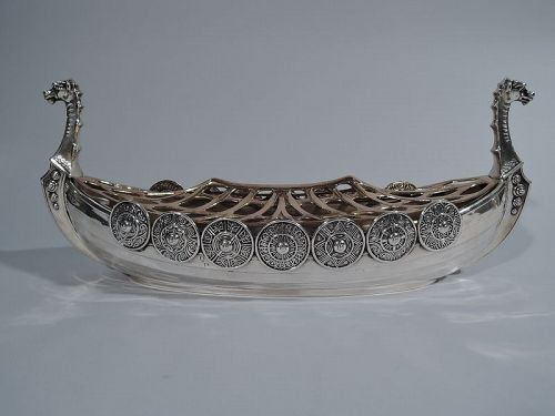 Gorham Sterling Silver Viking Longship with Flower Frog