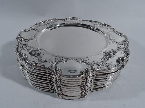 Set of 12 Gorham Edwardian Sterling Silver Dinner Plates 1914