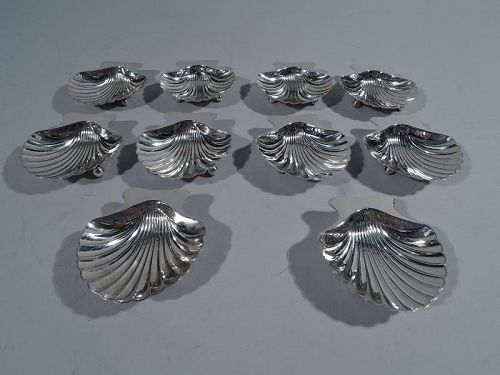 Set of 10 Tiffany American Sterling Silver Scallop Shell Nut Dishes