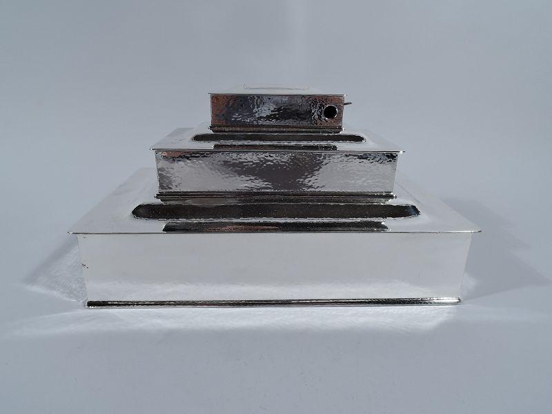 Tiffany Arts & Crafts Hand Hammered Sterling Silver Triple Cigar Box