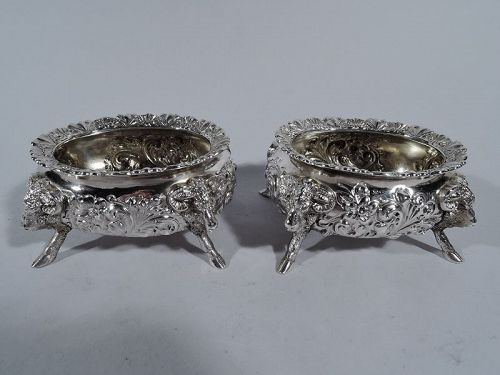 Pair of Neoclassical Style Sterling Silver Open Salts by Howard & Co.