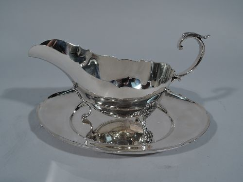 Gorham Sterling Silver Gravy Boat on Stand in Standish Pattern