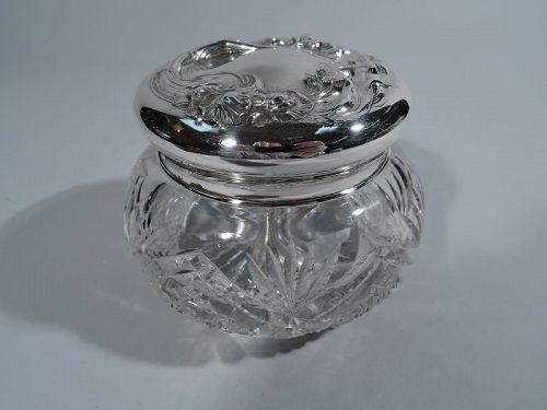 Unger Bros. Art Nouveau Sterling Silver and Cut Glass Powder Jar