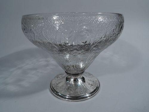 Gorham Edwardian Sterling Silver & Crystal Centerpiece Bowl