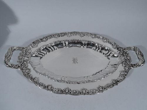 Tiffany Chrysanthemum Sterling Silver Serving Platter C 1902