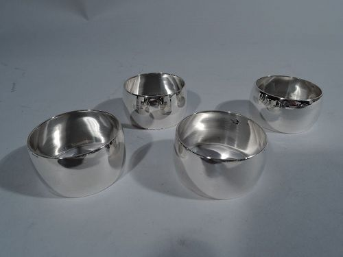 Set of 4 Tiffany Modern Sterling Silver Napkin Rings C 1945
