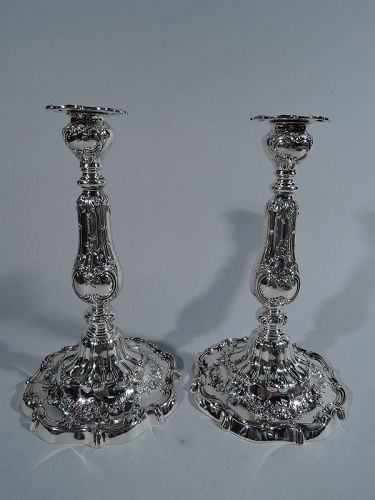 Pair of Gorham Fancy Edwardian Sterling Silver Candlesticks 1908