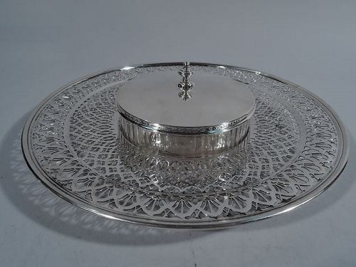 Antique Tiffany Sterling Silver and Glass Caviar Serving Dish on Plate