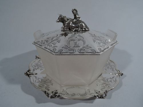 Antique Sterling Silver and Glass Butter Dish with Cow & Herdess 1849