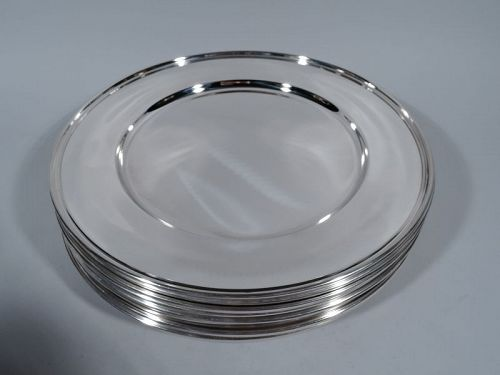 Set of 12 Kirk Modern Sterling Silver Dinner Plates
