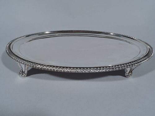 English Georgian Style Sterling Silver Oval Salver Tray 1910