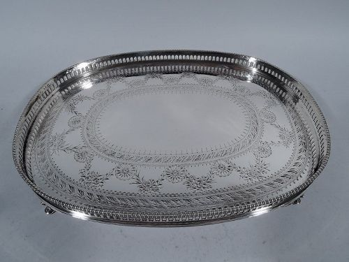Unusual Gorham Sterling Silver Neoclassical Gallery Salver Tray