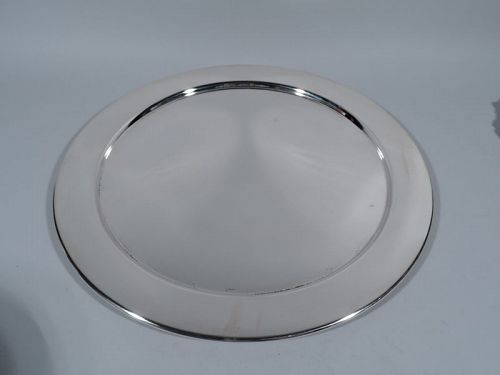 Very Large and Very Heavy Sterling Silver Round Serving Tray