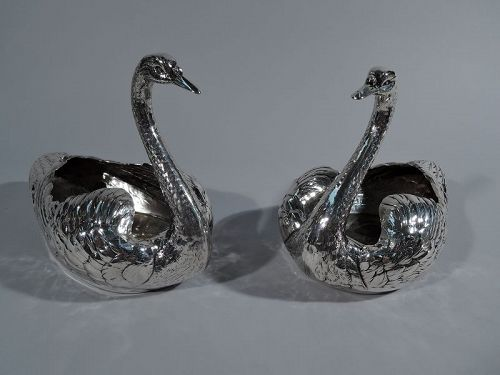 Pair of Antique American Sterling Silver Swan Bowls by Durgin
