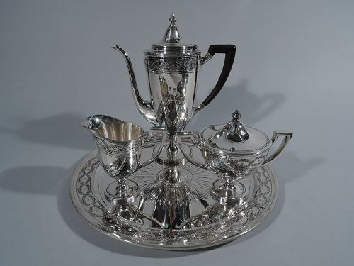 Antique Tiffany Winthrop Sterling Silver Coffee Service on Tray