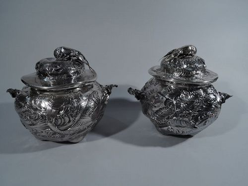 Pair of Rare & Wonderful Gorham Japonesque Lobster Bisque Tureens 1883