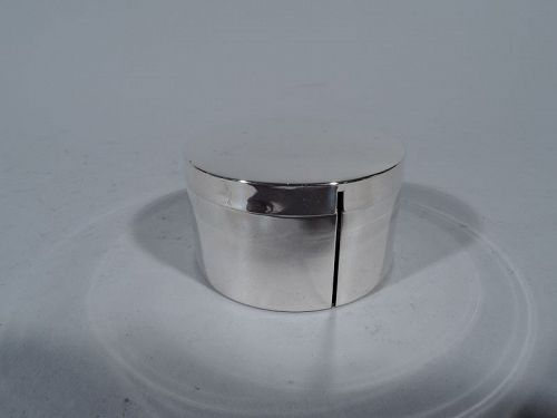 American Modern Sterling Silver Round Postage Stamp Box