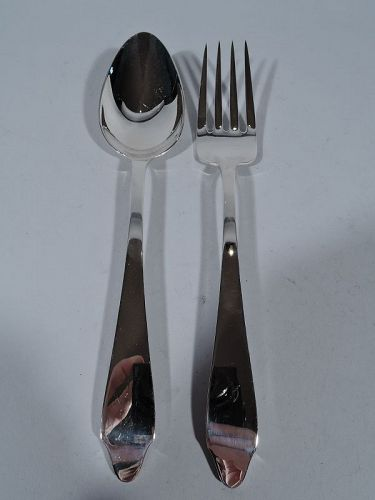 Antique Tiffany Clinton Sterling Silver Serving Spoon & Fork