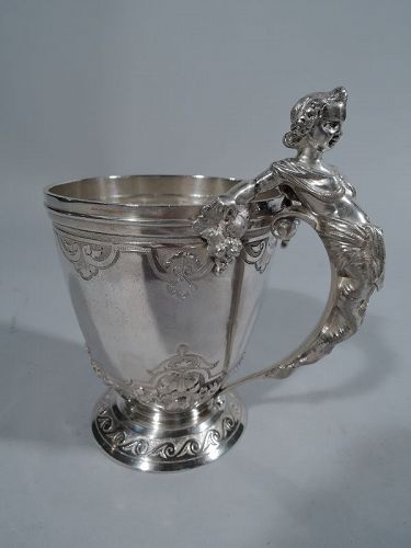 Early Gorham Classical Coin Silver Baby Cup with Figural Handle C 1860