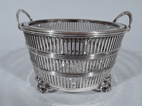 Antique American Edwardian Sterling Silver Pierced Condiment Bowl