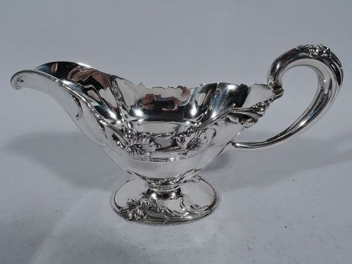 Antique American Sterling Silver Sauceboat by Frank W Smith C 1890