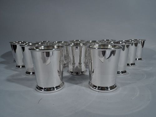 Large Set of 14 American Sterling Silver Mint Julep Cups
