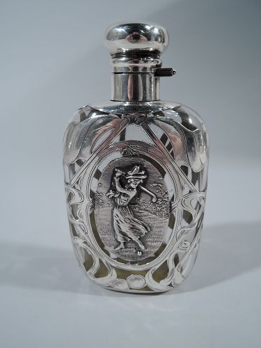 For the Sportswoman � Antique Silver Overlay Flask with Lady Golfer