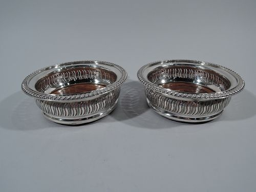 Pair of English Georgian-Style Sterling Silver Wine Bottle Coasters
