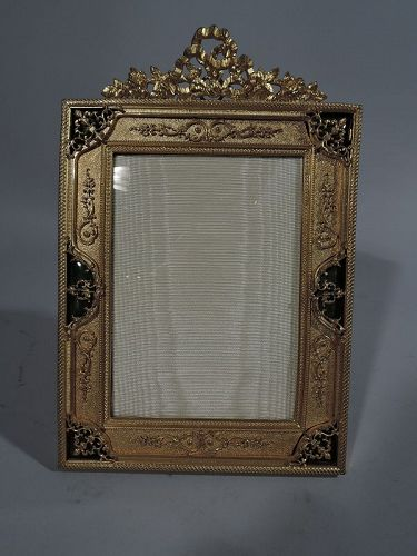 Antique French Bronze Dore and Green Enamel Picture Frame