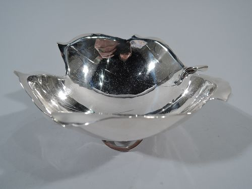 Sciarrotta Sterling Silver Leaf Bowl on Scrolled Foot