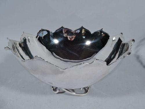 Sciarrotta Midcentury Modern Sterling Silver Leaf Bowl on Scroll Base